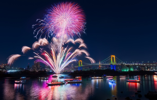 Picture night, the city, holiday, Japan, salute, Bay, Tokyo, fireworks