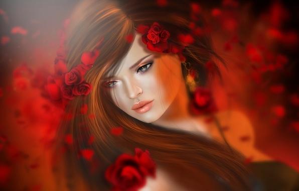 Picture girl, flowers, red, hair, roses, brunette