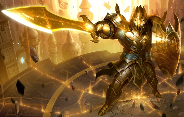 Picture sword, warrior, hon, shield, armor, Heroes of Newerth, Jeraziah, Blade of Soul