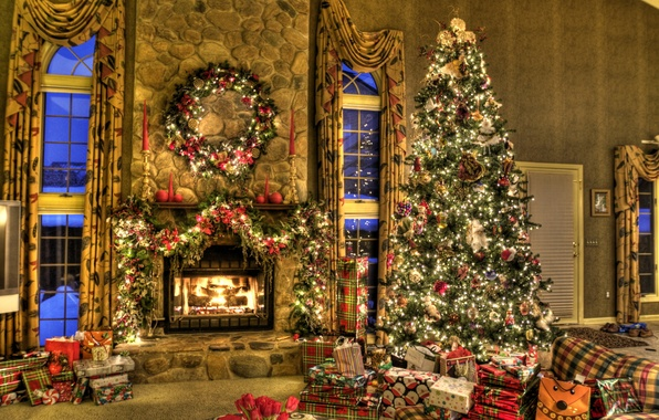 Picture house, mood, holiday, toys, tree, gifts, New year, fireplace, garland, box, New Year