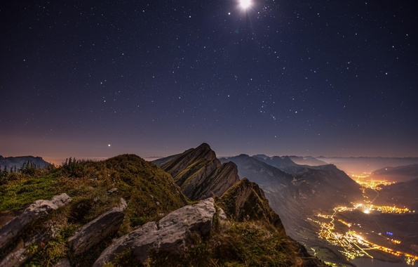 Picture clouds, mountains, night, lights, height, valley