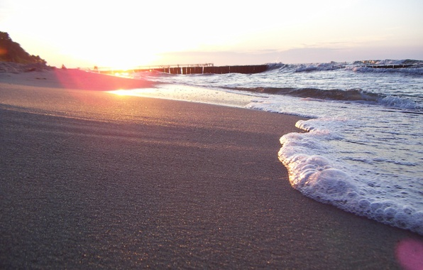 Picture sand, sea, beach, summer, foam, the sun, light, nature, shore, wave