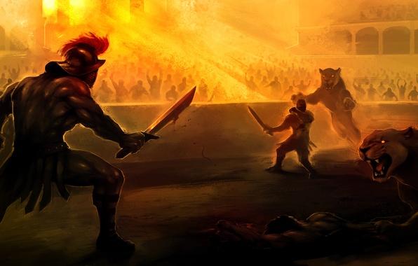 Picture death, blood, sword, Leo, arena, Colosseum, fight, Gladiator