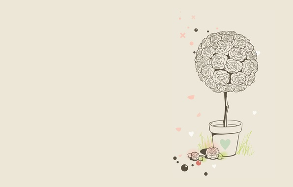 picture grass balls flowers roses minimalism vector art pot