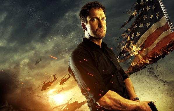 Picture flag, Gerard Butler, helicopters, Olympus Has Fallen, Olympus Has Fallen