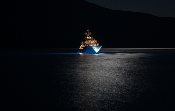 Picture sea, night, lights, yacht, super, mega, mountains., super yacht, mega yacht, yacht, yacht ACE