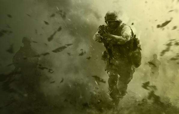 Picture weapons, soldiers, call of duty, green background, special forces, cod, modern warfare