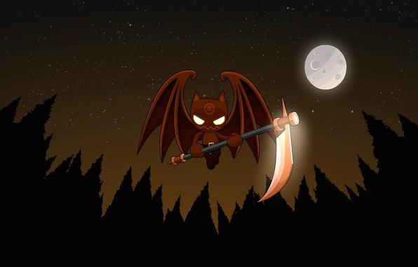 Picture night, the moon, vector, vampire, braid, bat