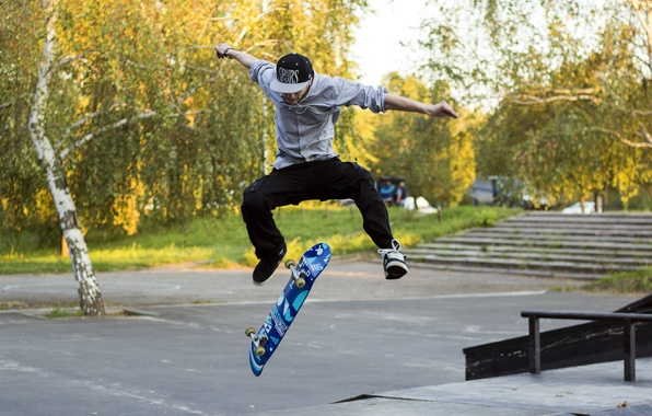 Picture FLIGHT, GREENS, JUMP, STEPS, The SITUATION, GUY, PARK, ALLEY, SKATE