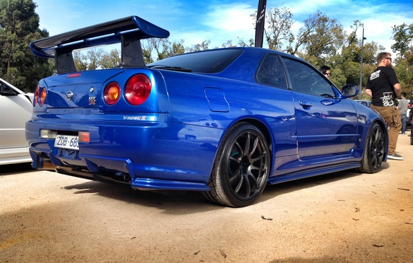Picture blue, tuning, nissan, skyline, Nissan, blue, r34, JDM