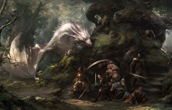 Picture forest, fantasy, dragon, the situation, art, journey, friends