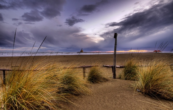 Picture sand, beach, sunset, overcast, The sky, the evening