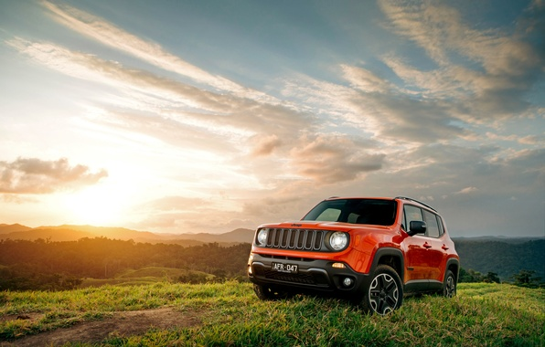 Picture the sun, sunset, nature, jeep, Jeep, Renegade, renegade