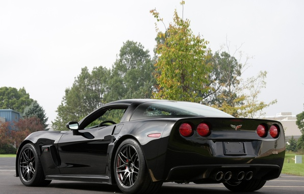 Picture car, Corvette, Chevrolet, Chevrolet, black, back, Pratt & Miller, C6RS