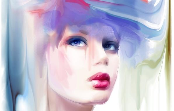 Picture look, girl, makeup, red lips, make up, Tatiana Nikitina