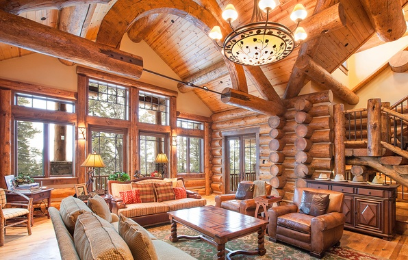 Picture interior, log home, great room