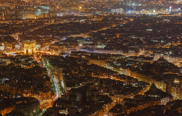 Picture night, lights, France, Paris, home, panorama, arch