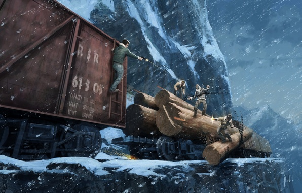 Picture winter, road, snow, mountains, train, chase, iron, shootout, Uncharted 2
