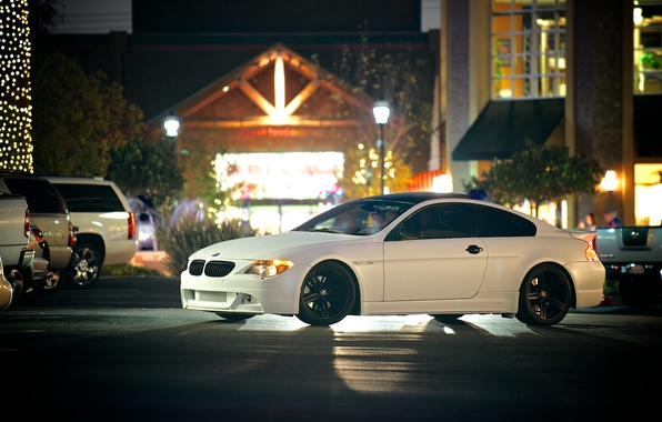 Picture white, black, street, bmw, BMW, white, drives, side view, cars, e63