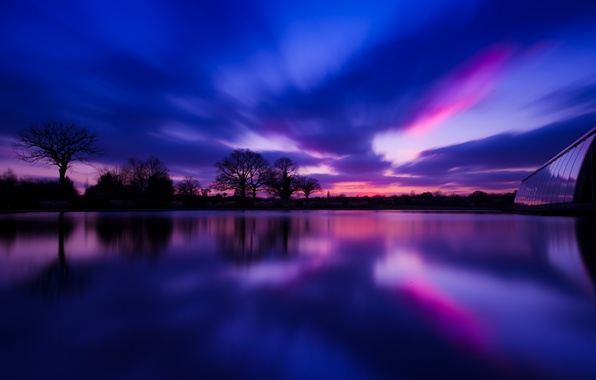 Picture trees, sunset, reflection, river, England, the evening, village, UK, river, trees, sunset, evening, village, England, ...