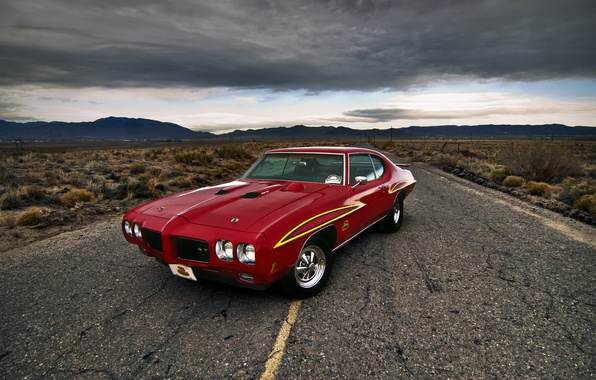 Picture road, car, muscle car, Pontiac, Pontiac GTO