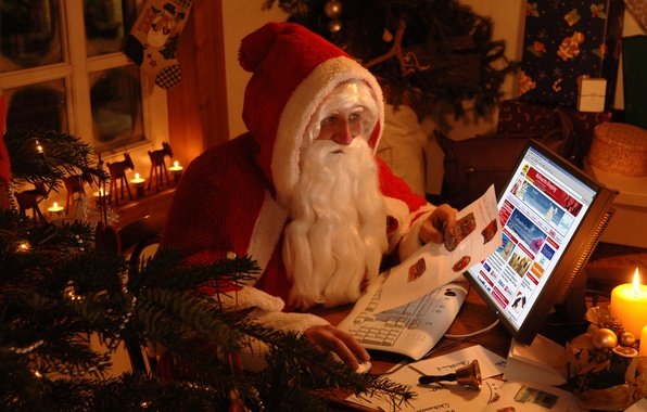 Picture winter, holiday, tree, Santa Claus, Santa Claus