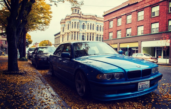 Picture autumn, leaves, street, bmw, BMW, side, e38, 750il