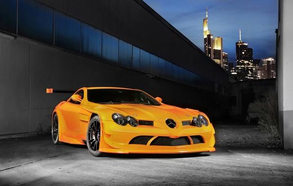 Picture the sky, orange, skyscrapers, 722, Mercedes Benz, orange, SLR McLaren, wing, Mercedes Benz, SLR McLaren