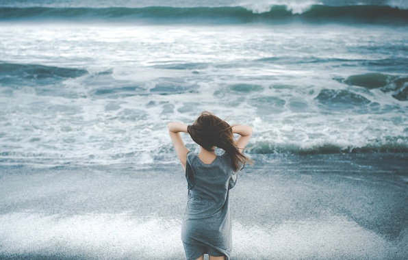 Picture girl, the wind, shore, surf