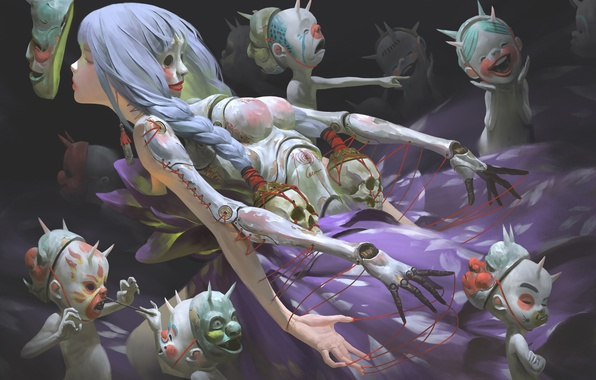 Picture girl, fantasy, perfume, mask, art, witch, demons