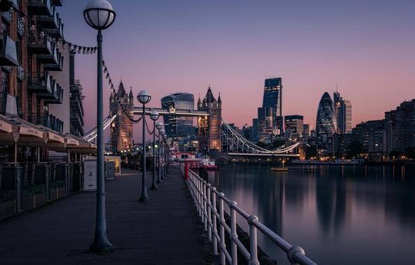 Picture morning, sunrise, dawn, Tower Bridge, London, England, Thames River, cityscape, urban scene