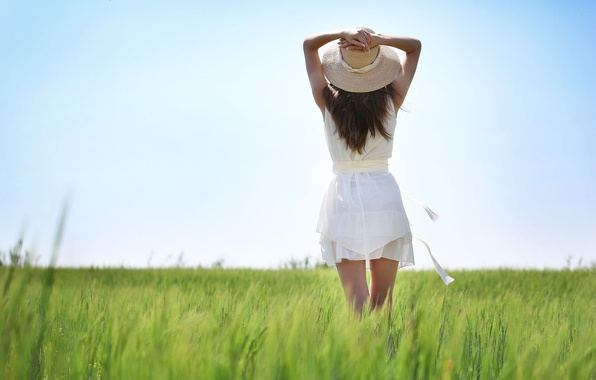 Picture greens, summer, the sky, grass, girl, macro, nature, background, stay, widescreen, Wallpaper, mood, hat, brunette, …
