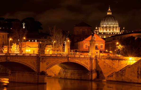 Picture light, night, the city, river, lighting, Rome, lights, Italy, architecture, Italy, Rome, The Vatican, The …