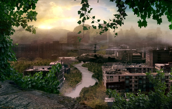Picture trees, the city, Apocalypse, helicopter