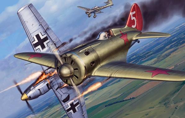 Picture figure, art, Messerschmitt, Me-109, -16, Junkers, Ju-87, one, Bf.109, Thing, Soviet single-engine piston fighter monoplane, …