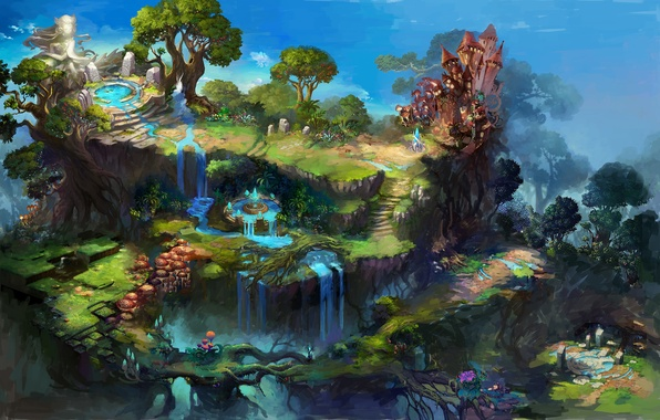 Picture trees, nature, art, waterfalls, sources
