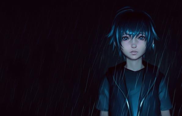 Picture face, rain, anime, art, guy, final fantasy, night light sky, ilya kuvshinov