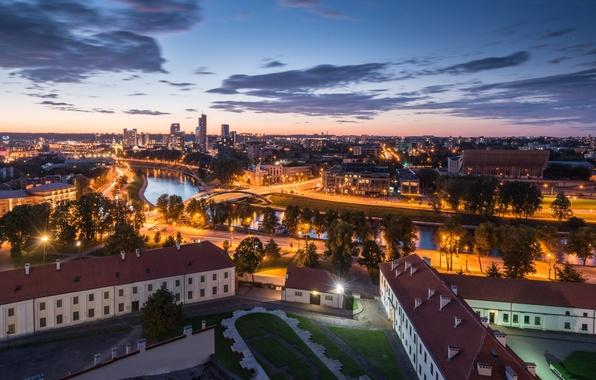 Picture panorama, night city, Lithuania, Lithuania, Vilnius, Vilnius