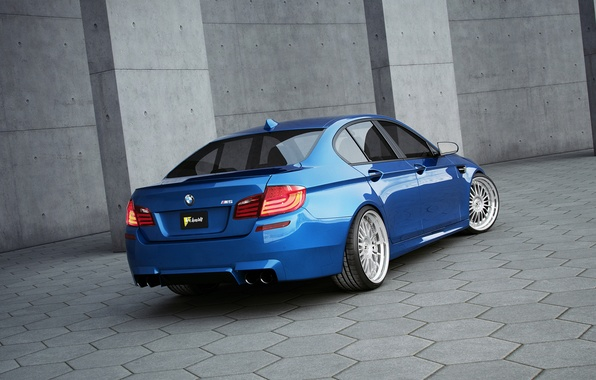 Picture blue, bmw, BMW, rear view, blue, f10, grey paving slabs, black license plate