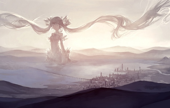 Picture the sky, girl, clouds, bridge, the city, anime, art, vocaloid, hatsune miku, kklaji008