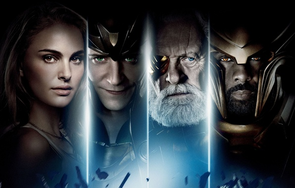 Picture Natalie Portman, Natalie Portman, poster, comic, Thor, Thor, Idris Elba, Idris Elba, Loki, Tom Hiddleston, …