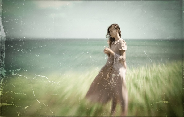 Picture girl, background, texture