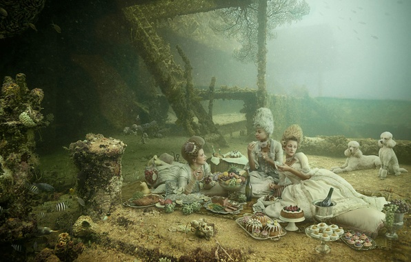 Picture dogs, style, girls, humor, dress, under water, Picnic, Victorian, surreal