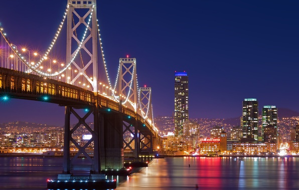 Picture night, bridge, the city, lights, San Francisco, San Francisco