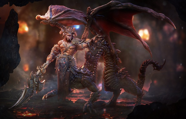 Picture dragon, wings, sword, the demon, tail, lava, cave, art, Lord Sorrow