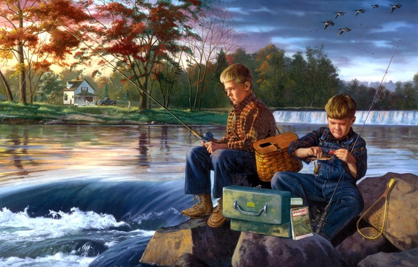 Picture river, stones, fishing, painting, friends, boys, early autumn, Charles Friday, Fishing Buddies, a flock of …