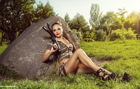 Picture girl, photographer, machine, brown hair, camouflage, uniform, Diana, Maxim Bondarenko