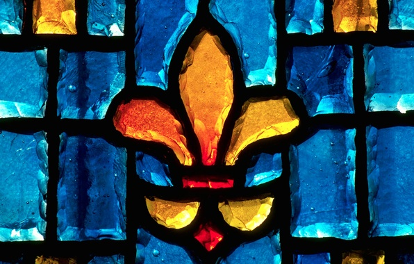 Picture Canada, stained glass, Saskatchewan, Gravelbourg, heraldic Lily