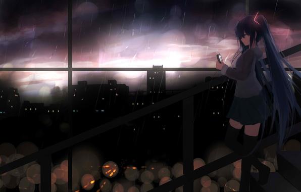 Picture girl, the city, rain, anime, headphones, art, vocaloid, hatsune miku, shy