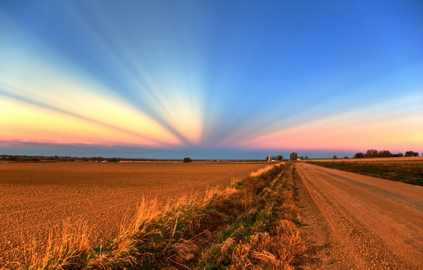 Picture field, the sky, Road, 158